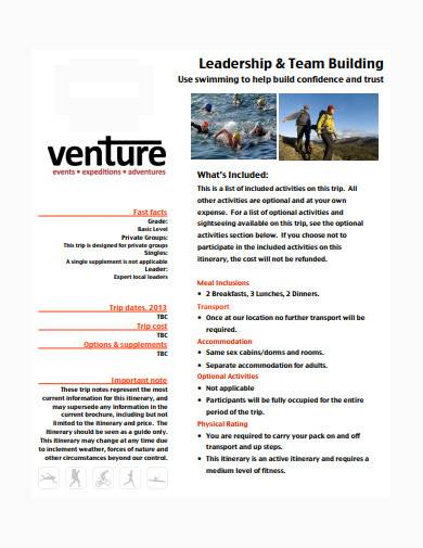 team building itinerary example
