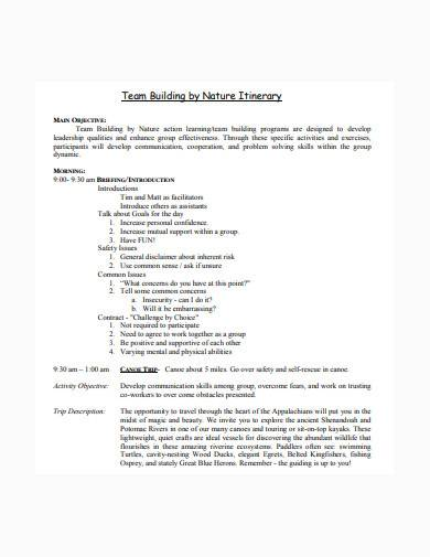 team building itinerary sample1