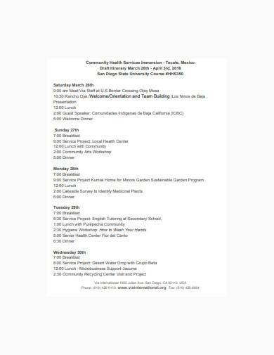 team building itinerary template
