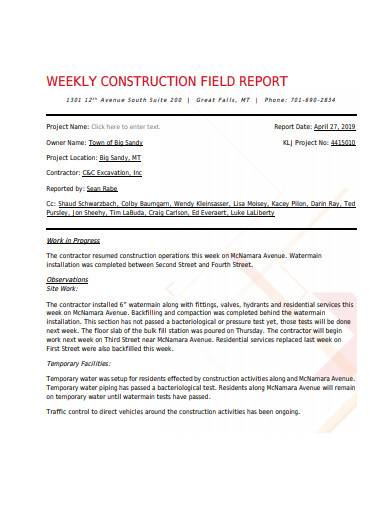weekly construction field report