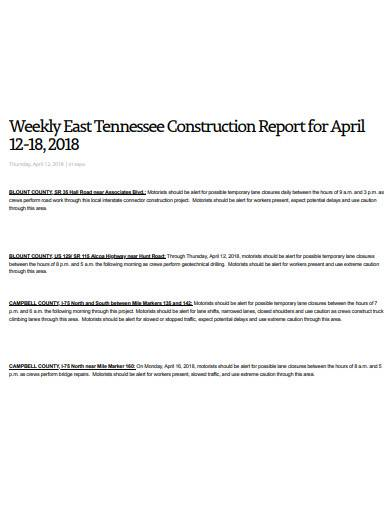 weekly east tennessee construction report