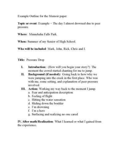 memoir paper outline sample page 001