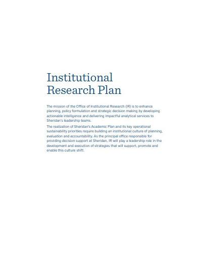 academic institutional research plan