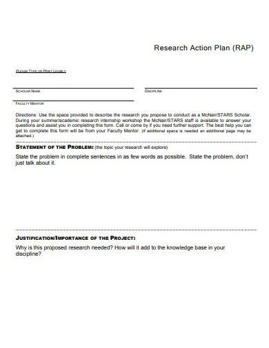 academic research action plan example