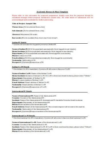 academic research plan template