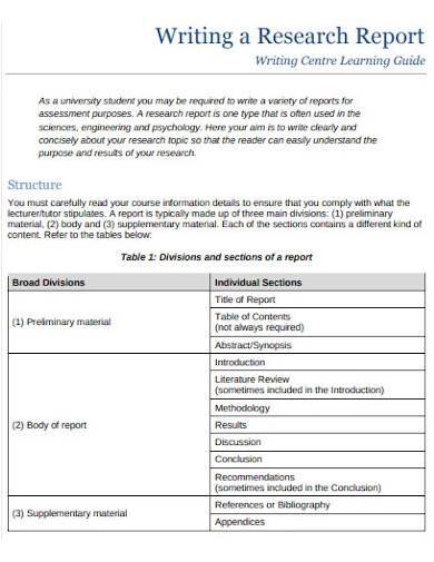 academic research report sample