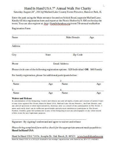 annual charity walk registration form