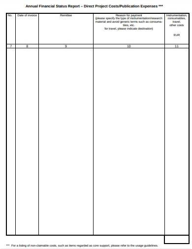 annual financial status report template