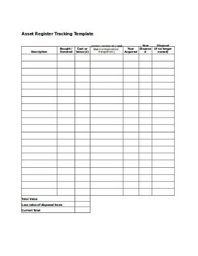asset register tracking format
