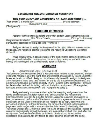 assignment and assumption of agreement