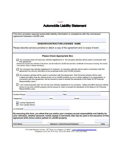 automobile liability statement