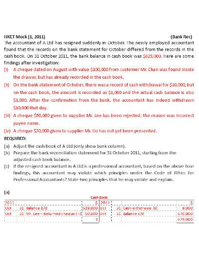 bank reconciliation statement making