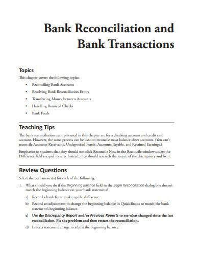 bank reconciliation and bank transactions
