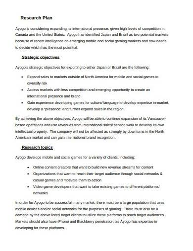 basic business marketing research plan template