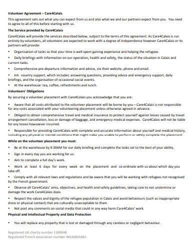 basic charity volunteer agreement