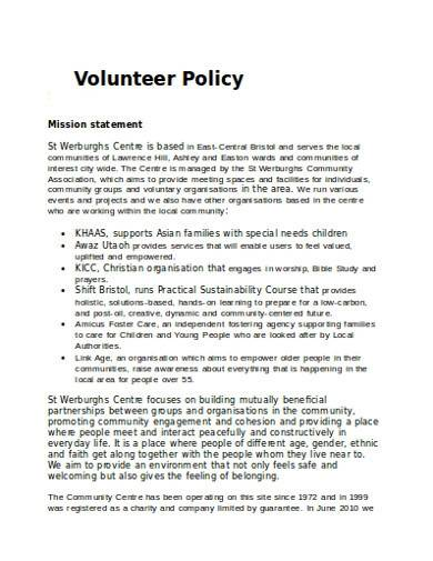 basic charity volunteer policy