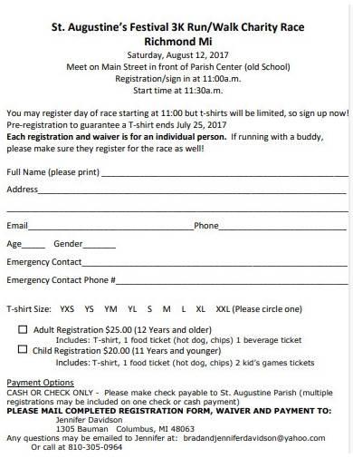 basic charity walk registration form