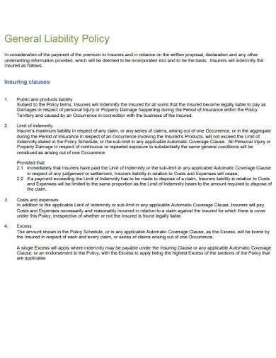 basic general liability policy