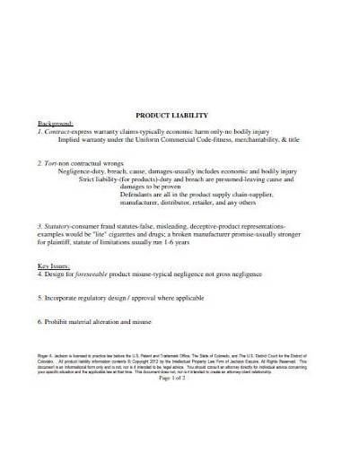 basic product liability checklist templates