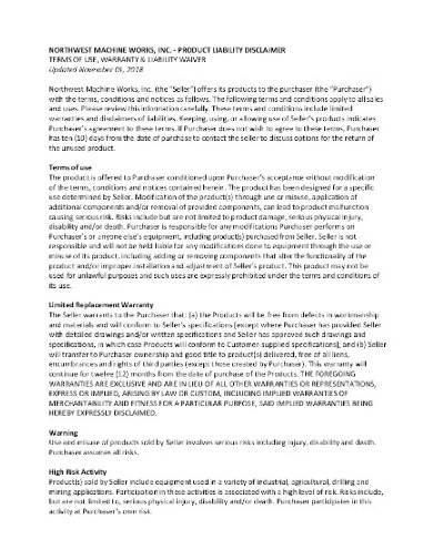 basic product liability disclaimer