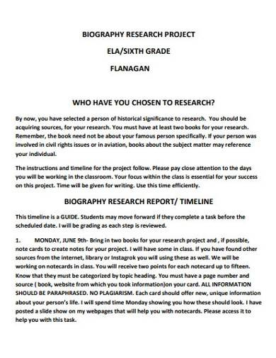 biography research project report