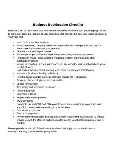 business bookkeeping checklist