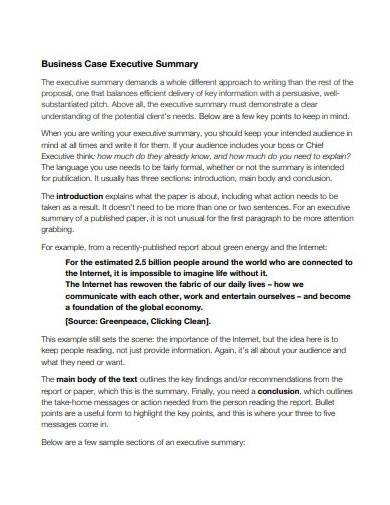 business case executive summary