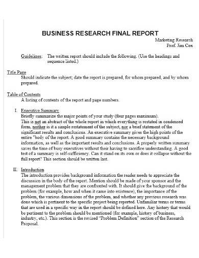 business research final report
