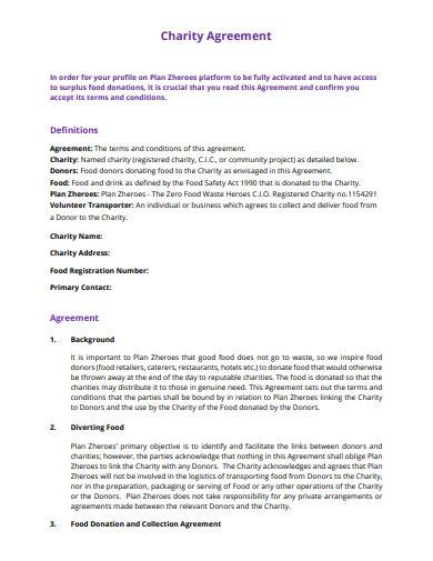 charity agreement template