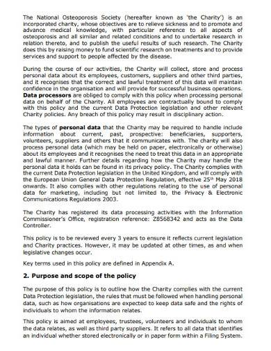 charity data information protection policy
