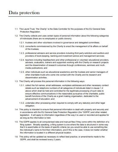 charity data protection policy template