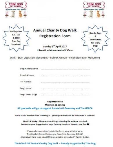 charity dog walk registration form