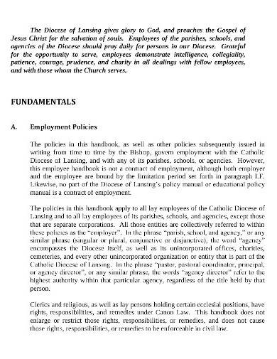 charity employment policy template
