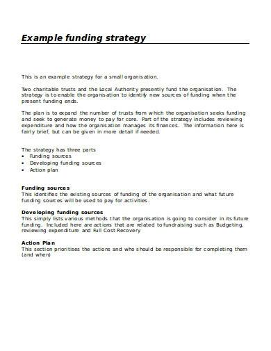 charity funding strategy plan template