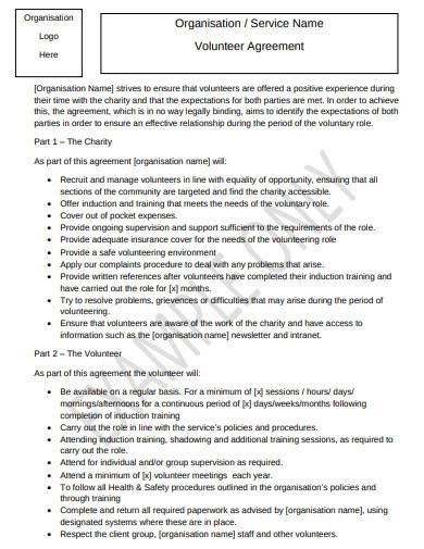 charity organisation volunteer agreement