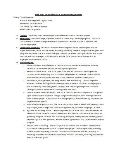 charity sponsorship agreement example