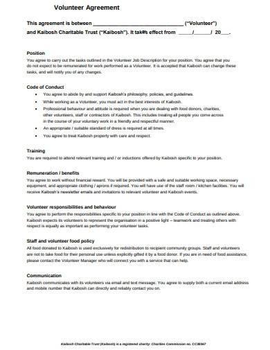 charity volunteer agreement template
