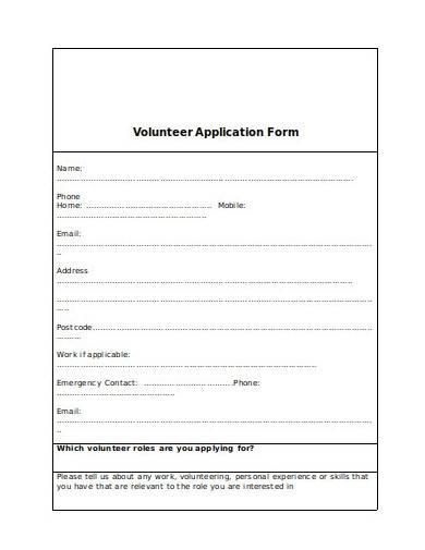 charity volunteer application form format