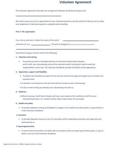 charity volunteering agreement form