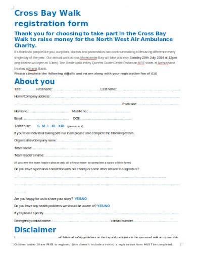 charity walk registration form in word