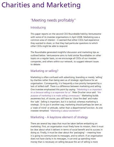 charity and marketing strategy plan