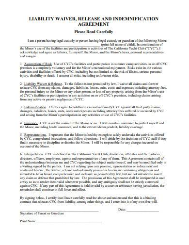 child liability waiver agreement