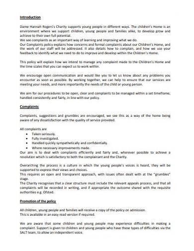 children's home complaints procedure template