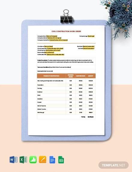 civil construction work order template