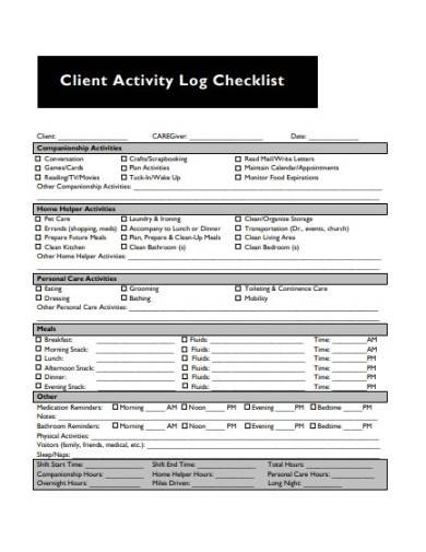 client activity log checklist