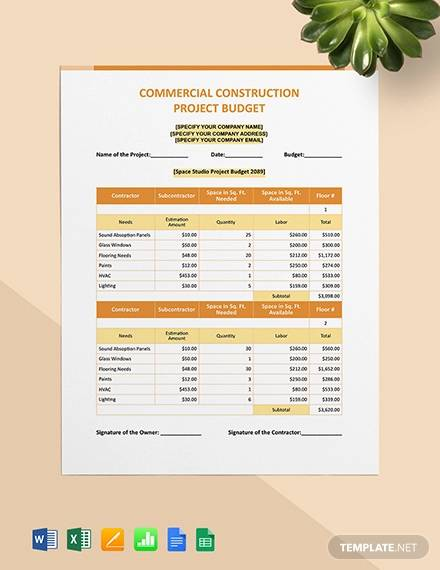 commercial construction project budget template