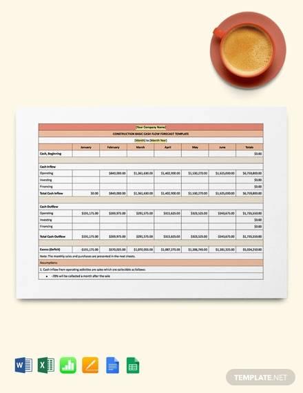 construction basic cash flow forecast template