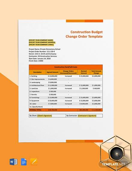 construction budget change order template