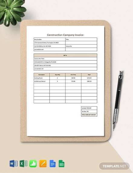 construction company invoice template1