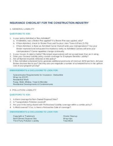 construction insurance liability checklist